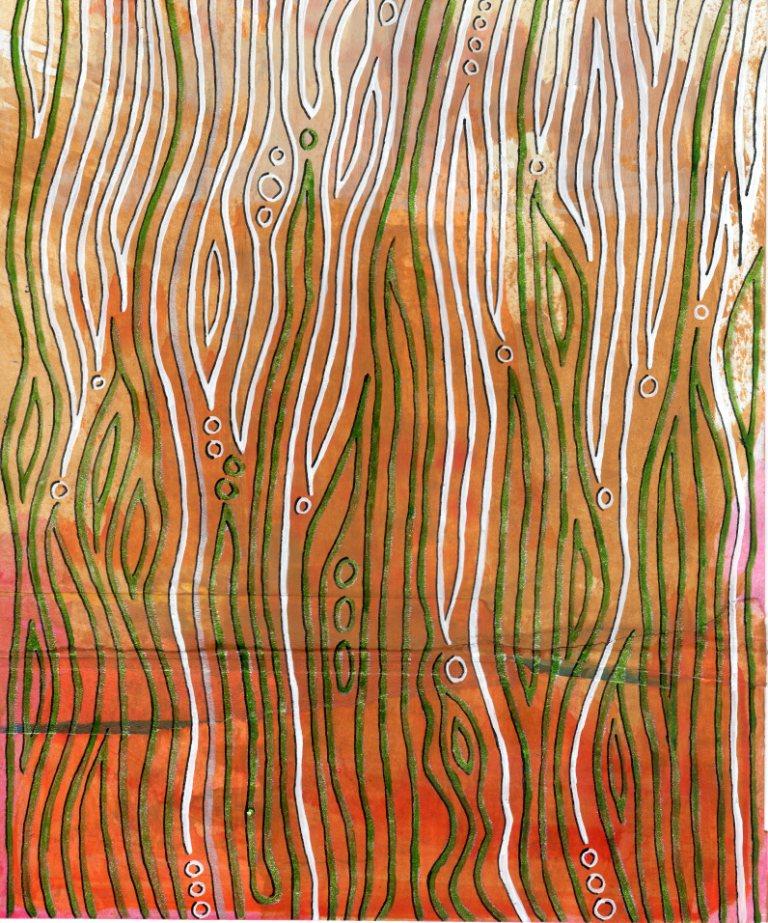 I'm on the road to nowhere - aber das Leben beginnt dahinter, Acryl und Klebestreifen auf Papier, 24,5 x 20