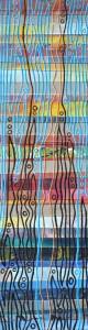Lebensfluss - Fluss des Lebens, Acryl auf bemaltem und bedrucktem Papier auf Karton, ca. 11,5 x 42 cm