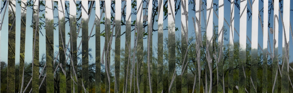 Märchenwald II, bemalte Fotos [Lack] auf Papier, 25,5 x 8,5