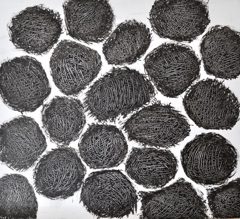 Nester II, Acryl auf Holz, 44 x 48