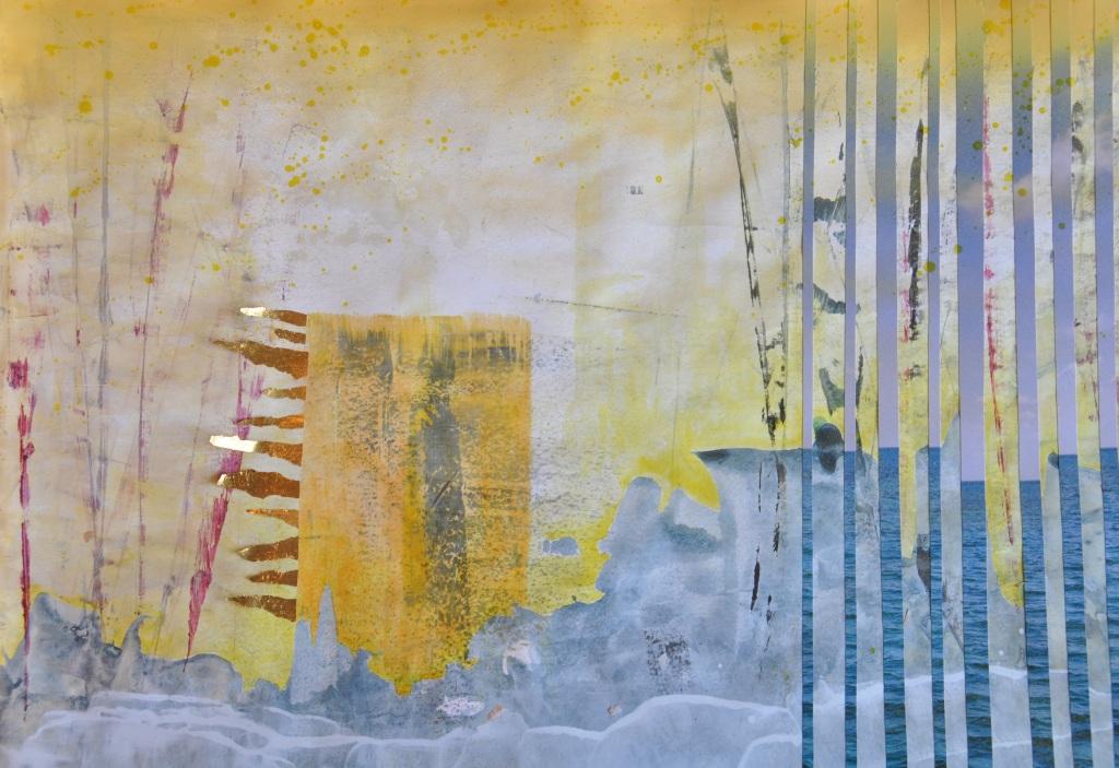 Seeelefant und gelber Kubus, Acryl, Staniolpapier, Papier und Spraylack auf Papier, 42 x 60