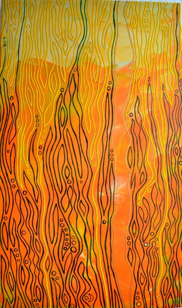 Shambala passage, Acryl und Glasfarbe auf Leinwand, 32 x 54