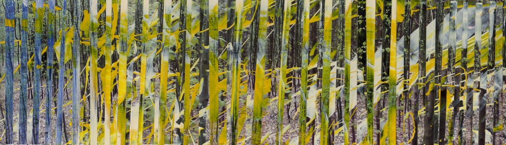 Märchenwald IV, bemalte Fotos [Lack] auf Papier, 30 x 8,5