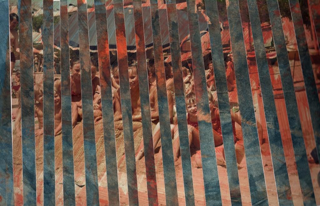 Durchschnittsmenschen IV, bemaltes Papier und Fotos [Acryl] auf Papier, 32 x 22,5