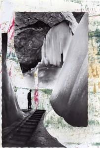 Höhlenmensch, Ansichtskarte auf bemaltem Papier (Ölpastell, Acryl), 2010, 15 x 25 cm