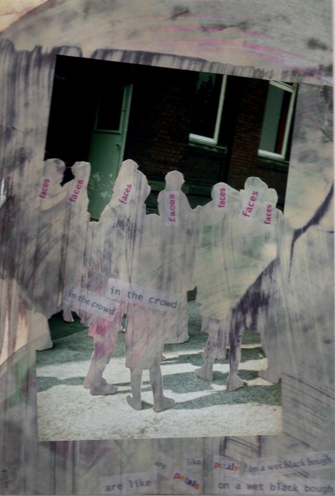 Faces in the crowd ..., Foto und bedrucktes Transparentpapier auf bemaltem Papier [Acryl], 26 x 18