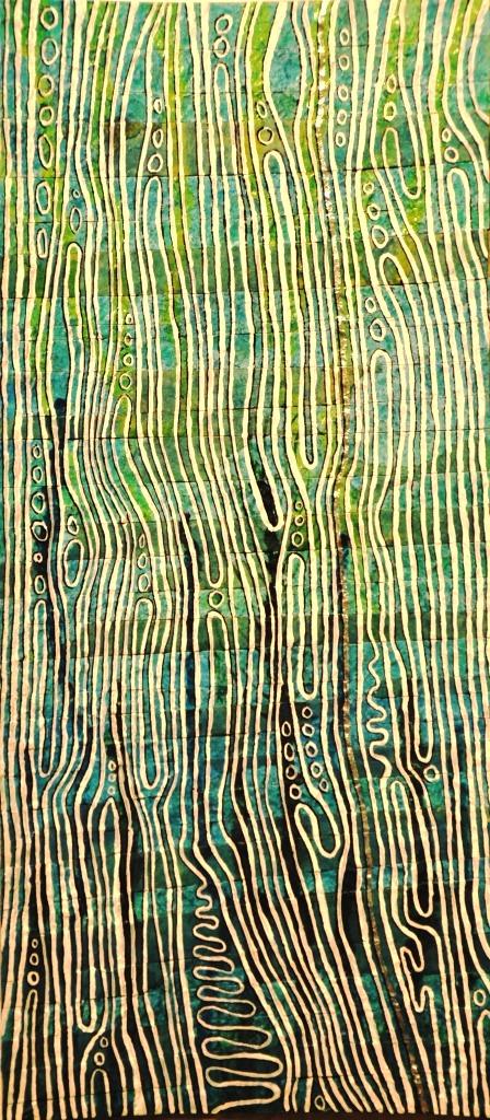 Unter Wasser, Acryl auf alter Tapete, 15 x 33