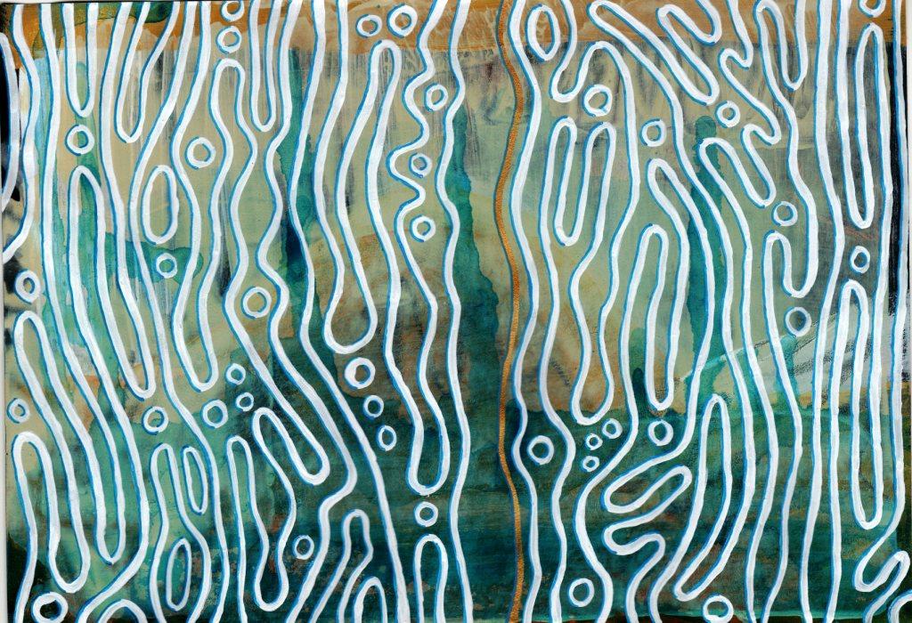Ursprung des Lebens, Acryl auf farbigem Papier, 15 x 21,5