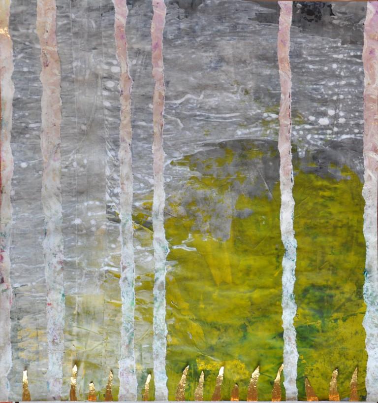 Willkommen am Abgrund, Acryl, Staniolpapier und Klebeband auf Papier,39 x 41