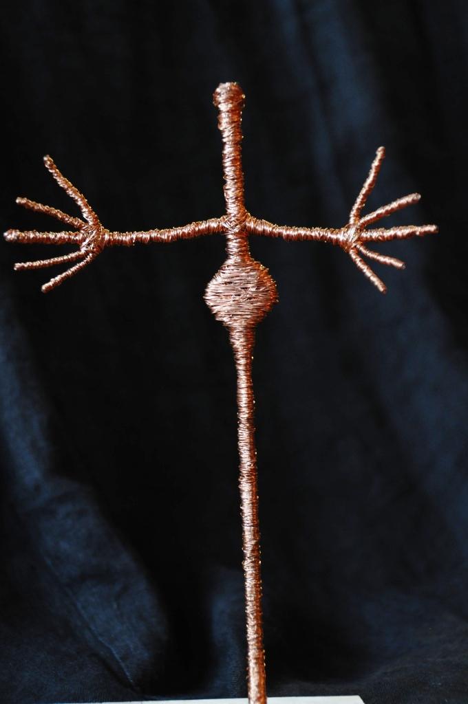 Ohne Titel, Kupferdraht um Draht, Höhe: 23 cm