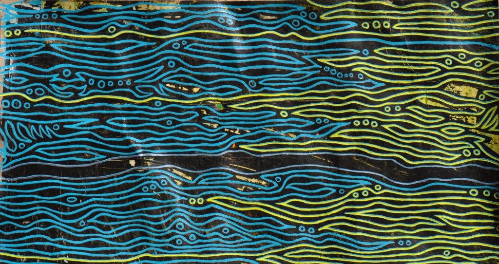 Ohne Titel_gelb-türkis / Dunkler Strom, Acryl auf Packpapier, 49,5 x 26