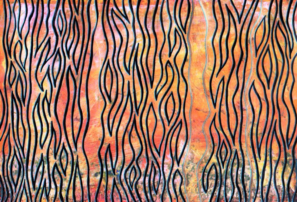 Himmelssprache II; Ölpastell, Acryl und Gelstift auf Papier, 21 x 30
