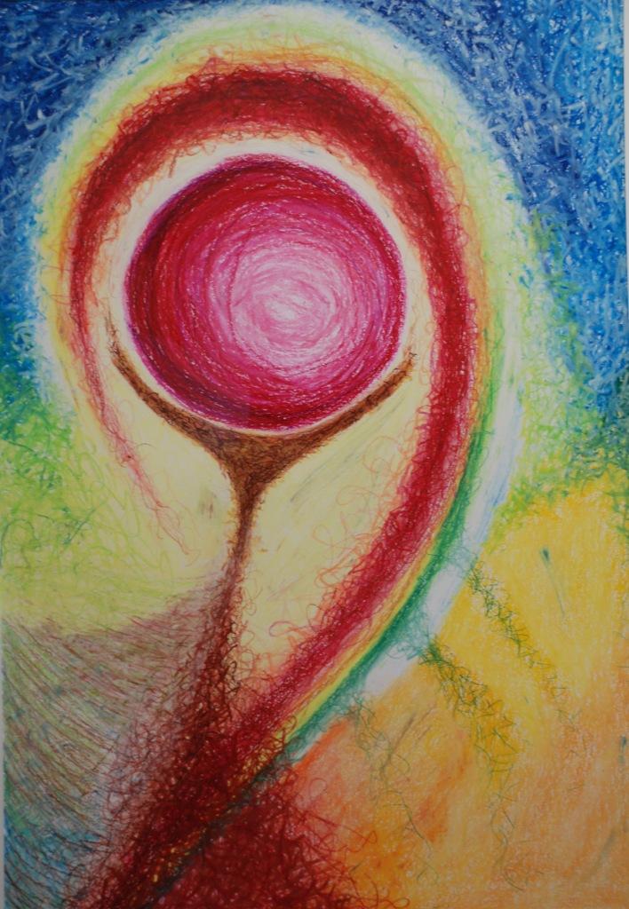 Ohne Titel (Venusspiegel), Ölpastell auf Papier, 82x58