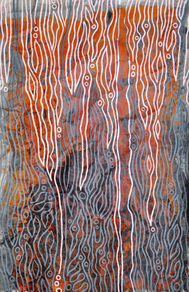 Lodern_ Flammen der Finsternis; Acryl und farbige Tusche auf Packpapier, 30 x 45