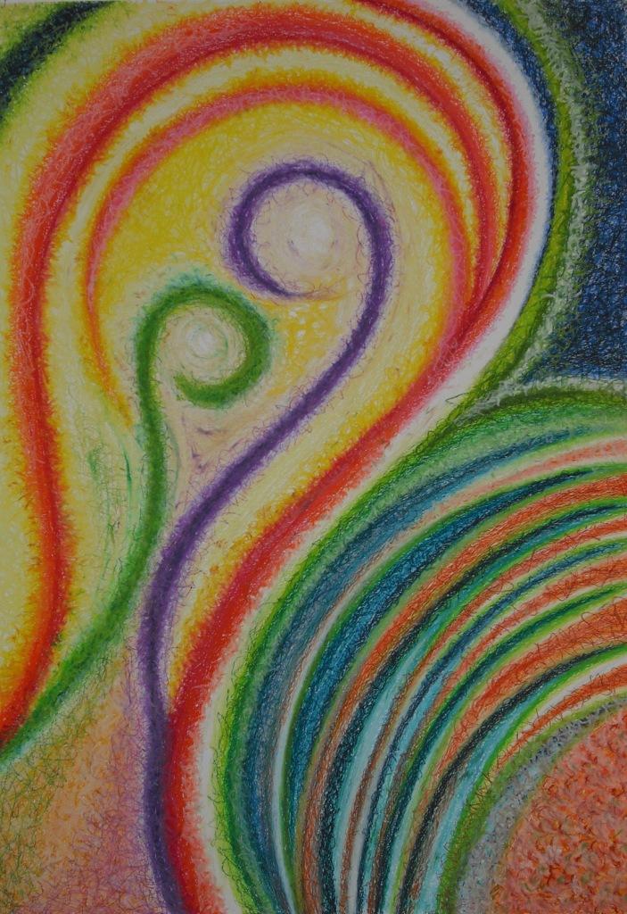 Seepferdchentanz, Ölpastell auf Papier, 82x58
